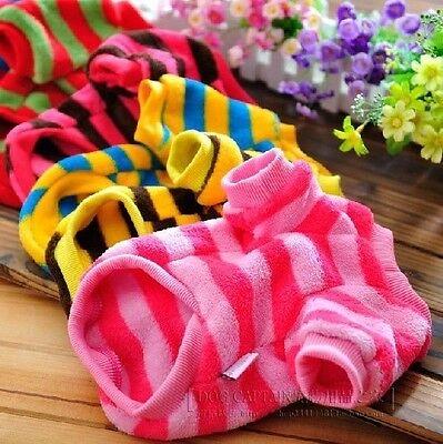 j Coral fleece Pet Dog Clothes Apparel stripe T Shirt Size  XXS  XS S M L