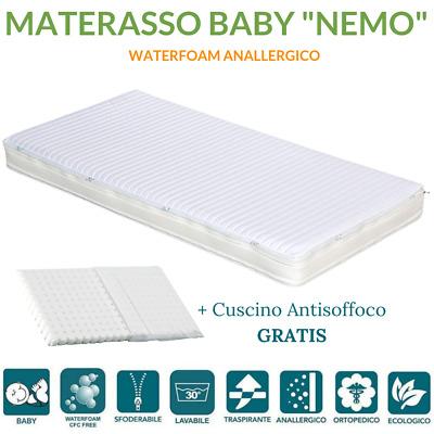 Cuscino ANTISOFFOCO OMAGGIO Materasso Culla Bambino Waterfoam ANALLERGICO