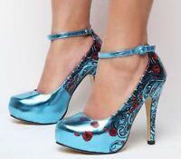 Iron Fist Siren Rose High Heel Vegan Platform Shoe Turquoise Metallic