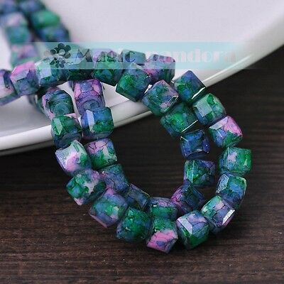 8mm New Glass Czech Cube Faceted Square Jewelry Finding Spacer Loose Beads 25pcs