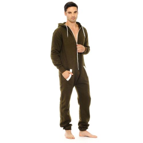 Da Uomo Donna un pezzo Onsie 1 Tuta Unisex Pigiama Plain Stampato LOTTO Sleepwear