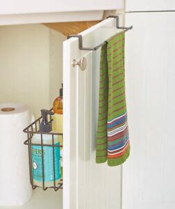 Over Cabinet Door Towel Bar With Basket Ebay