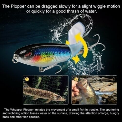 10 Colors Artificial Topwater Rotating Tail Bass Fish Bait Fishing Lure Hooks
