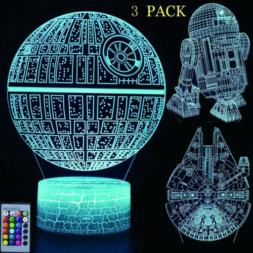 3D Illusion Star Wars Night Lights LED 7 Colors Changing Desk Lamp for Kids Gift