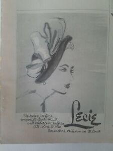 1949-Mujer-Lecie-Sombrero-Importado-Suizo-Trenza-Iridiscente-Tafetan-Epoca-Moda