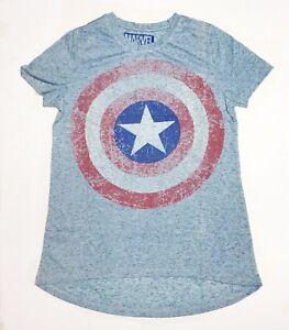 Marvel-Captain-America-Shield-Women-s-Small-Light-Blue-T-Shirt