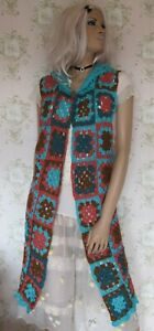 Rare-Vtg-60s-70s-Hand-Made-Knit-Crochet-Lace-Floral-Granny-Square-Gilet-Coat
