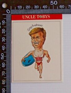 VINTAGE-UNCLE-TOBYS-IRONMAN-SUPER-SERIES-GUY-ANDREWS-ADVERTISING-PROMO-STICKER