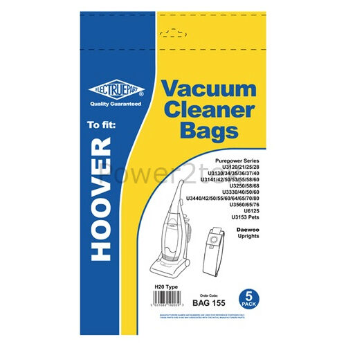 5x H20 Vacuum Cleaner Bags for Hoover U3350 001 U3360 U3360 001 Hoover NEW
