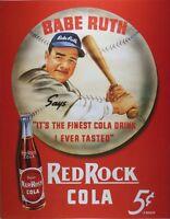 Desperate Enterprises Babe Ruth/red Rock Cola Collectible Metal Sign , 13x16, Ne