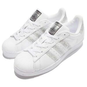 adidas women's superstar white sparkle silver shoes