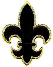 "FLEUR DE LIS-BLACK w/GOLD METALLIC (2 1/4"") - Iron On Embroidered Patch"