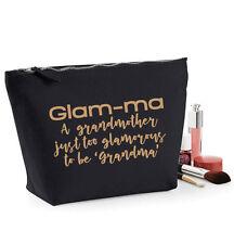 Glam-ma Make Up Wash Bag, Black cosmetic case, 19x18cm,Gift for Grandma/Granny