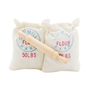 2PCS-Bag-of-Flour-Sack-w-Wood-Rolling-Pin-Miniature-Kitchen-Food-1-12-Dollhouse