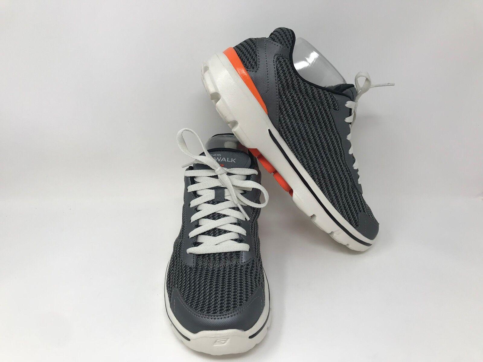 New! Men's Skechers 53981 Go Walk Fitknit 2 - Gharcoal/Orange J19 Brand discount