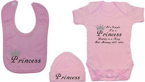 Feeding Bib /& Hat//Cap NB-12m Funny Princess...Baby Grow//Bodysuit//Romper//Vest