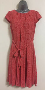NUOVO-Ex-DP-Rosso-a-Pois-Fit-amp-Flare-estate-casual-giorno-Tea-Dress-Size-6-14