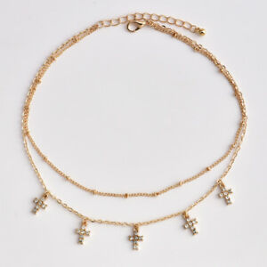 Gold-Plated-Fashion-Women-2layer-Beads-Chain-Crystal-Cross-Pendant-Necklace-Gift