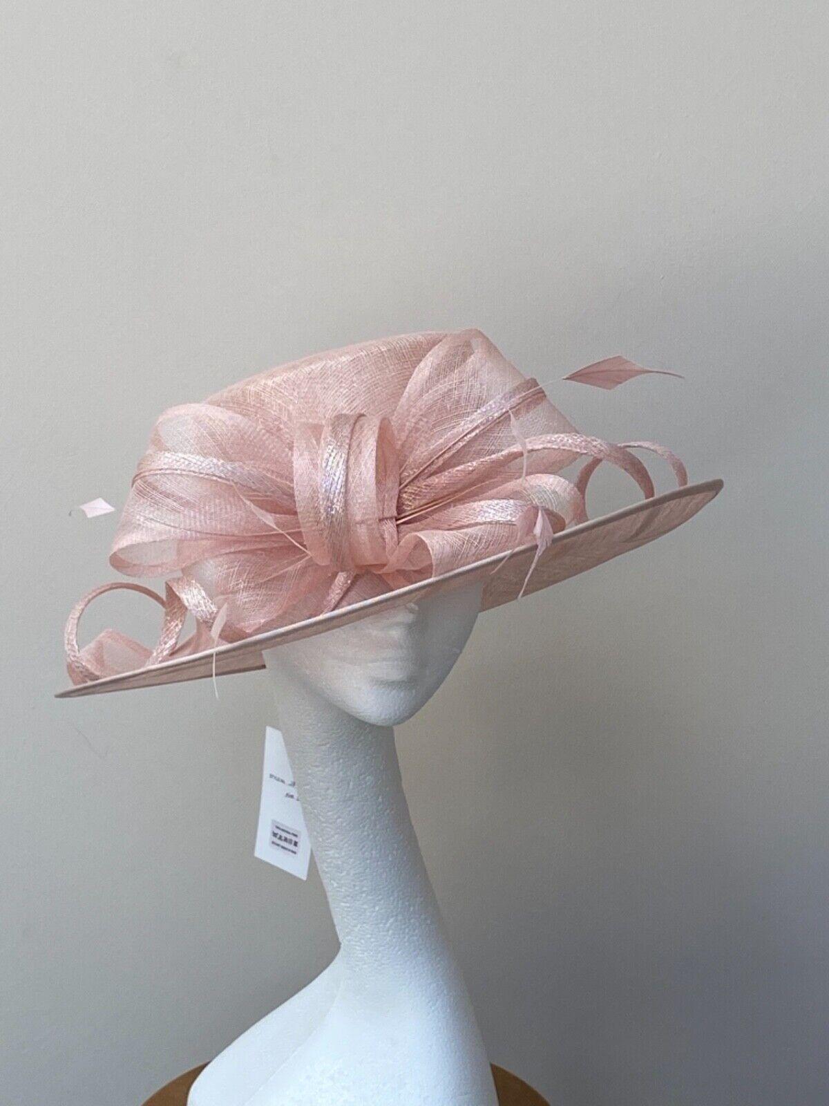 Pale Pink Shimmer Wedding Occasion Hat JB194