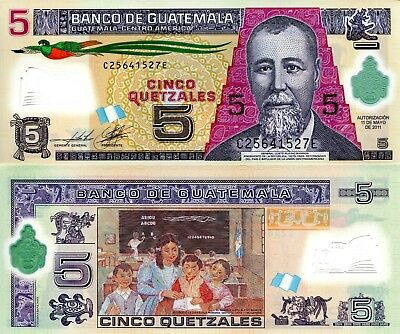 Guatemala 5 Quetzales Banknote World Paper Money UNC Currency Bill Note
