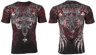 Xtreme Couture AFFLICTION Men T-Shirt BOLD CIPHER Wings Tattoo Biker MMA UFC $40