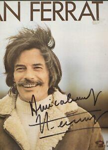 Autographe Dédicace ORIGINAL du Chanteur JEAN FERRAT sur Pochette LP 33T