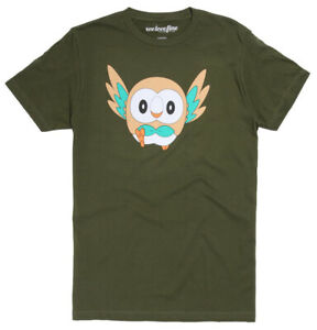 Pokemon-Rowlet-Men-039-s-Graphic-T-Shirt-New