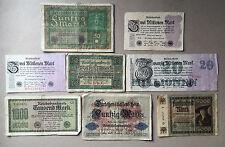 Sammlungsauflösung Posten 8 alte Geldscheine Deutsches Reich -Inflation.... (12)