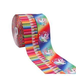2Yards-lot-3-034-Unicorn-Pencils-Printed-Grosgrain-Ribbon-Home-Textile-DIY-Material