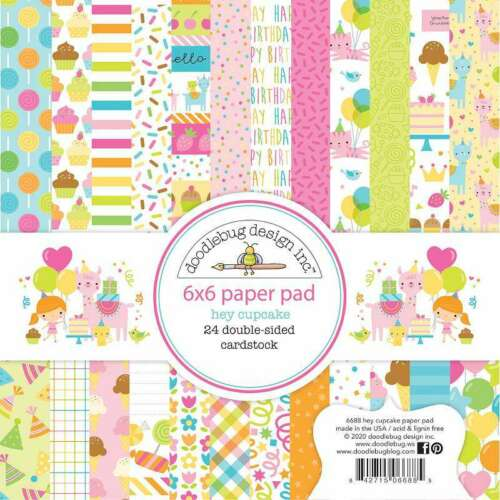 """Doodlebug Double-Sided Paper Pad 6/""""X6/"""" 24//Pkg Hey Cupcake 842715066885"""
