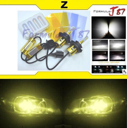LED Kit Z 96W 9008 H13 3000K Yellow Two Bulbs Head Light High Low Plug Play JDM