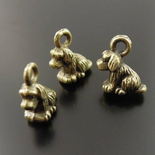 100pcs Antiqued Bronze Vintage Alloy Aniaml Cute Dog Pendant Charms 35473