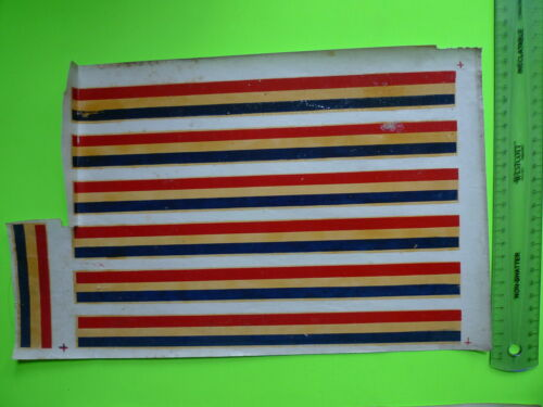 VINTAGE BIKE BICYCLE ANTIQUE RARE WATER DECALS FRAME TRIPLE LINES BLUE RED GOLD