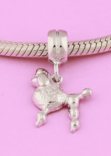 SOLID Sterling Silver Rhodium Vermeil Gold POODLE Dog Puppy Animal Charm Bead