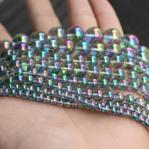 Multicolor Plating Rainbow Crystal Glass Round Loose Beads DIY 15.5inch HH6649