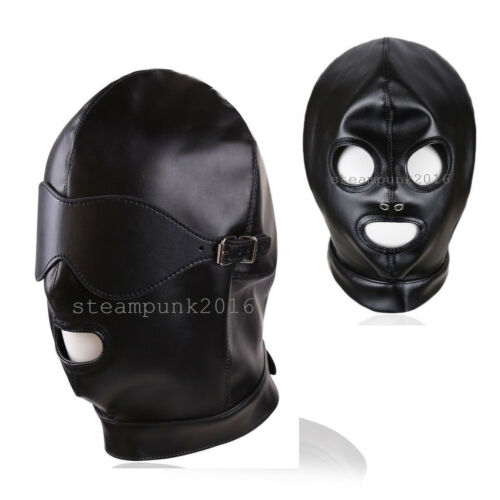 Faux Leather Mouth Open Mask Removable Blindfold Eyepatch Head Hood Lace Up
