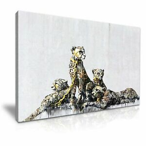 Banksy Leopards canvas wall art Wood Framed Ready to Hang XXL