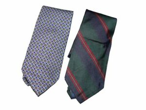Polo-Brooks-2-Mens-Neckties-Blue-Green-Scottish-Irish-Plaid-Blue-Yellow-Diamond