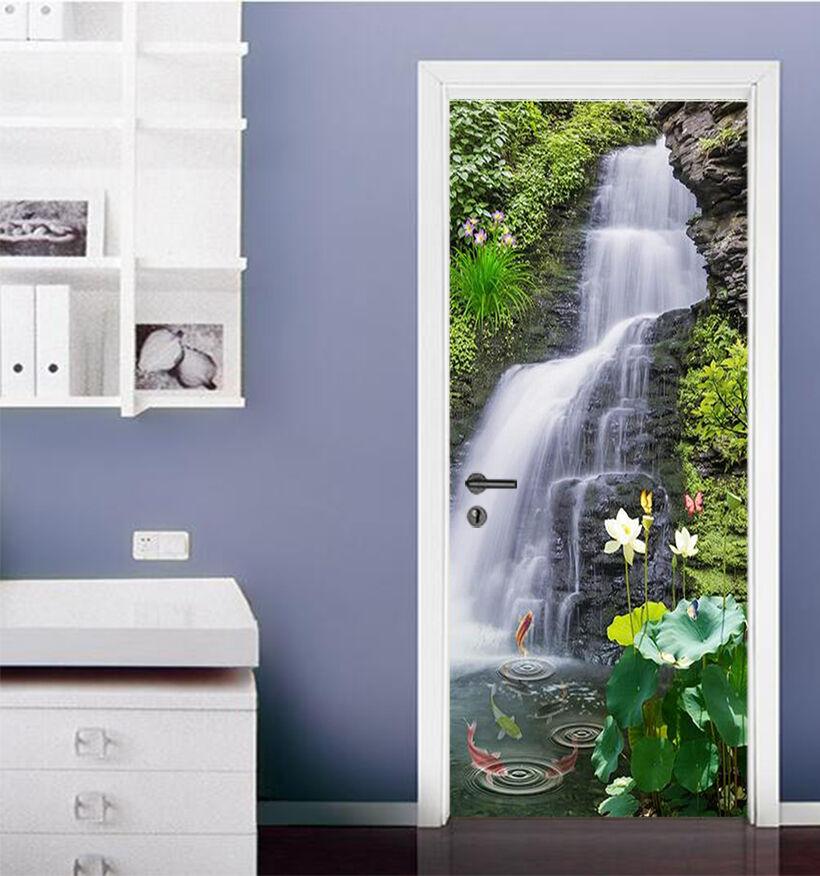 3D Lotu Wasserfall Tür Wandmalerei Wandaufkleber Aufkleber AJ WALLPAPER DE Kyra