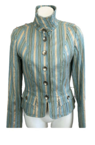 CARLISLE Womans Silk Striped Jacket SIZE 8 Pastel