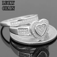 WOMEN`S 925 STERLING SILVER LAB DIAMOND HEART SHAPE ENGAGEMENT RING/6g/N38