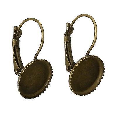 50 Boucle d'Oreille Support de Camée Cabochon Bronze 23x13mm DIY
