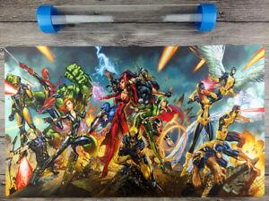 Marvel Comics Heros YuGiOh WCS//WCQ//YCS Custom Playmat TCG Mat Free best Tube
