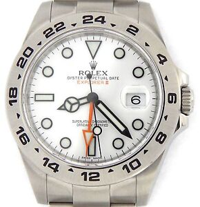 Men-Rolex-Stainless-Steel-Explorer-II-Watch-42mm-Orange-Hand-w-White-Dial-216570