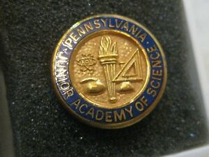 Vintage-PA-Junior-Academy-of-Science-Pin-Brooch-Pendant-Gold-Filed-in-Box