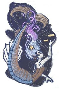 Steam Punk Aquatica MERMAID Embroidered Iron On Patch - 3 Sizes - FREE SHIPPING
