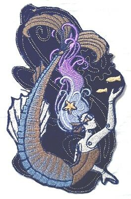 Beautiful Steam Punk Aquatica MERMAID Embroidered Iron On Patch - 3 Sizes