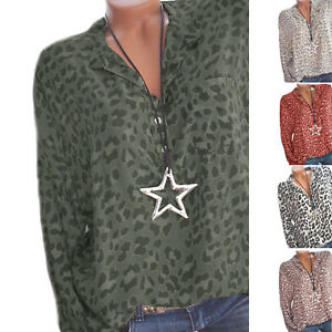 Womens-Long-Sleeve-T-Shirt-Casual-Summer-V-Neck-Leopard-Print-Blouse-Loose-Tops