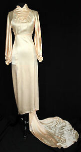 PréVenant Exceptionnel Rare Vintage 1930's Long Pêche Satin Soie Robe De Mariée Taille 2