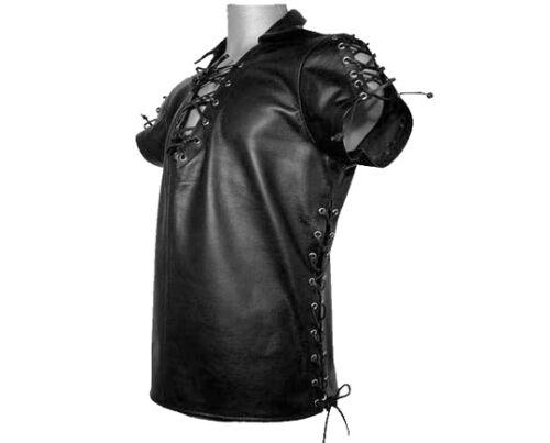 Nera Pelle Lato Bluf Uomo Pecora Pizzo Da Vero Agnello T Camicia shirt qx1Pt80PH